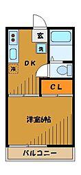 東京都小金井市貫井南町の賃貸アパートの間取り