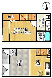 西鉄天神大牟田線 津福駅 徒歩12分の賃貸アパート 1階1LDKの間取り