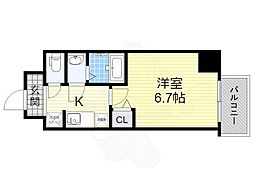 Osaka Metro中央線 弁天町駅 徒歩11分の賃貸マンション 4階1Kの間取り