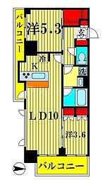 アジールコート両国北斎通 7階2LDKの間取り