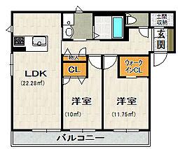 荒牧新築アパート[101号室]の間取り