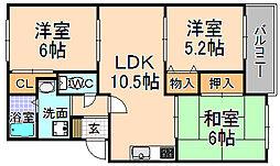 兵庫県伊丹市西野5丁目の賃貸マンションの間取り