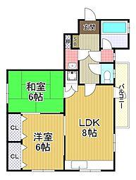 大鹿住宅[2階]の間取り