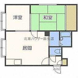 ハイツ都築[1階]の間取り