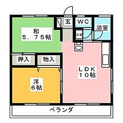 MBCハイツB[2階]の間取り