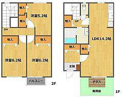 [テラスハウス] 兵庫県伊丹市昆陽南5丁目 の賃貸【/】の間取り