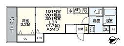 JR鹿児島本線 福工大前駅 徒歩7分の賃貸アパート 1階1LDKの間取り