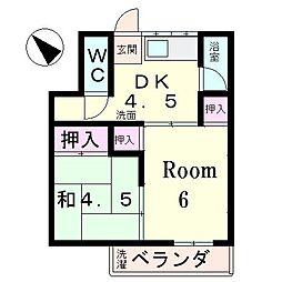 滋賀県草津市追分4丁目の賃貸アパートの間取り