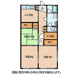 長野県諏訪市渋崎の賃貸マンションの間取り
