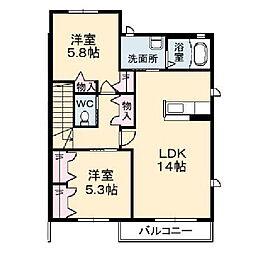 パティオ・ドゥ・シャーメゾンIII[2階]の間取り