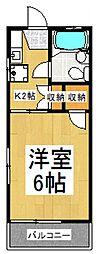 朋栄ハイツ[2階]の間取り
