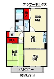 セジュールK C棟[2階]の間取り