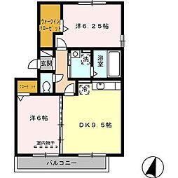 愛知県安城市姫小川町遠見塚の賃貸アパートの間取り