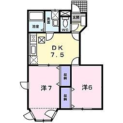 埼玉県春日部市緑町3の賃貸アパートの間取り