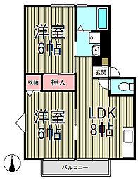 スプリングピアB[1-B号室]の間取り