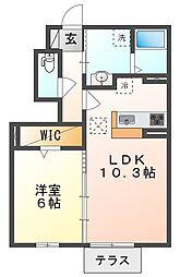JR山陽本線 高島駅 徒歩17分の賃貸アパート 1階1LDKの間取り