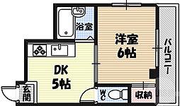 シャルマン新喜多 5階1DKの間取り