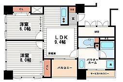 アルグラッドザ・タワー心斎橋[17階]の間取り