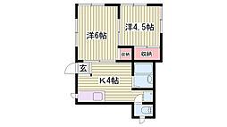兵庫県神戸市垂水区霞ヶ丘7丁目の賃貸アパートの間取り