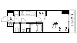 JR東海道・山陽本線 兵庫駅 徒歩4分の賃貸マンション 13階1Kの間取り