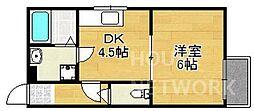 京都府京都市北区小山東大野町の賃貸アパートの間取り