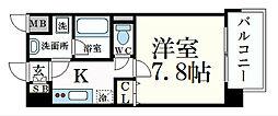 ベラジオ五条堀川III 2階1Kの間取り