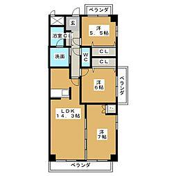 ガーデンシティ北名古屋[6階]の間取り