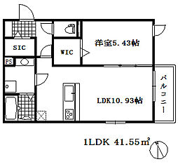 ベラ フォレスタ 2階1LDKの間取り