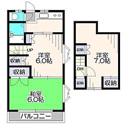 ハイツ中村園B[2階]の間取り