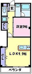 南海高野線 初芝駅 徒歩10分の賃貸アパート 3階1LDKの間取り