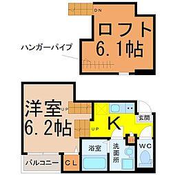 名古屋市営東山線 新栄町駅 徒歩10分の賃貸アパート 1階1Kの間取り