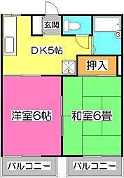 埼玉県所沢市けやき台2丁目の賃貸アパートの間取り