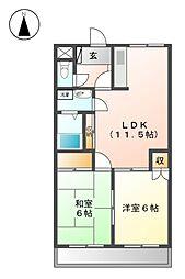 東京都武蔵野市境5丁目の賃貸マンションの間取り