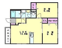 セレーノ宇美B[1階]の間取り