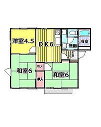 東京都青梅市大門3丁目の賃貸アパートの間取り
