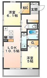 JR山陽本線 高島駅 徒歩13分の賃貸アパート 3階2LDKの間取り