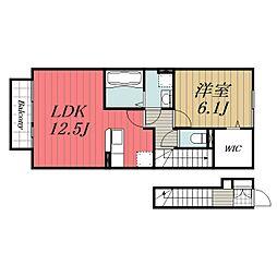 JR内房線 五井駅 バス9分 飛天坂下車 徒歩3分の賃貸アパート 2階1LDKの間取り
