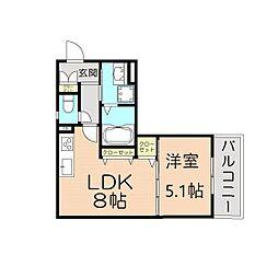 阪急宝塚本線 庄内駅 徒歩13分の賃貸アパート 2階1LDKの間取り