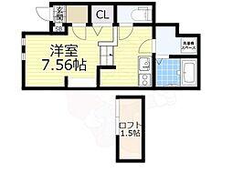JR阪和線 浅香駅 徒歩4分の賃貸アパート 1階1Kの間取り