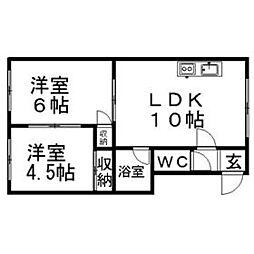 北海道札幌市南区南三十四条西10丁目の賃貸アパートの間取り