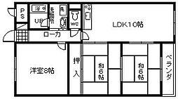 大阪府貝塚市窪田の賃貸マンションの間取り