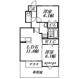 静岡県浜松市中区上島4丁目の賃貸アパートの間取り