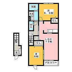 ラッフィナート・エス[2階]の間取り