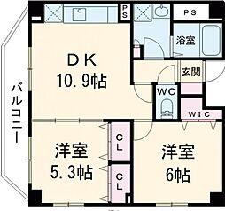 JR山手線 日暮里駅 徒歩6分の賃貸マンション 8階2LDKの間取り