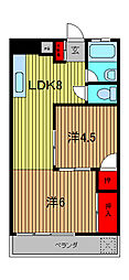 越川第1ビル[4階]の間取り