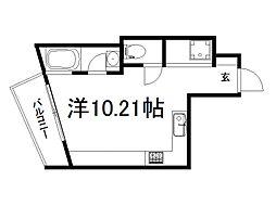 PLATINUM 2階ワンルームの間取り