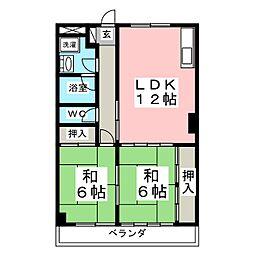 プレステ−ジ黒松[4階]の間取り