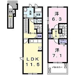 愛知県名古屋市名東区牧の原3丁目の賃貸アパートの間取り