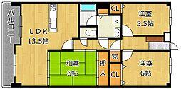 トーカンマンション歯大通り弐番館[2階]の間取り