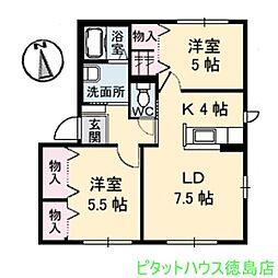 シャーメゾン小松島 B[202号室]の間取り